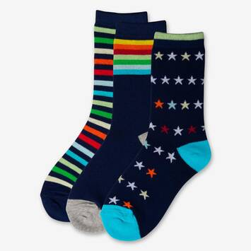 Blue Multi Sock 3 Pack