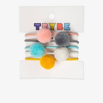 5 Pack Pom Pom Hair Ties