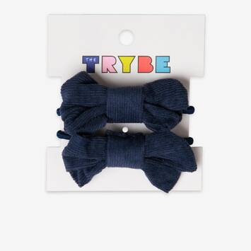 Navy Bow Hair Tie 2 pack